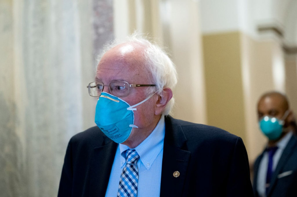 Sen. Bernie Sanders, pictured departing the Capitol on Friday, is urging Democrats to reject a stimulus plan crafted by a bipartisan group of lawmakers. | Stefani Reynolds/Getty Images