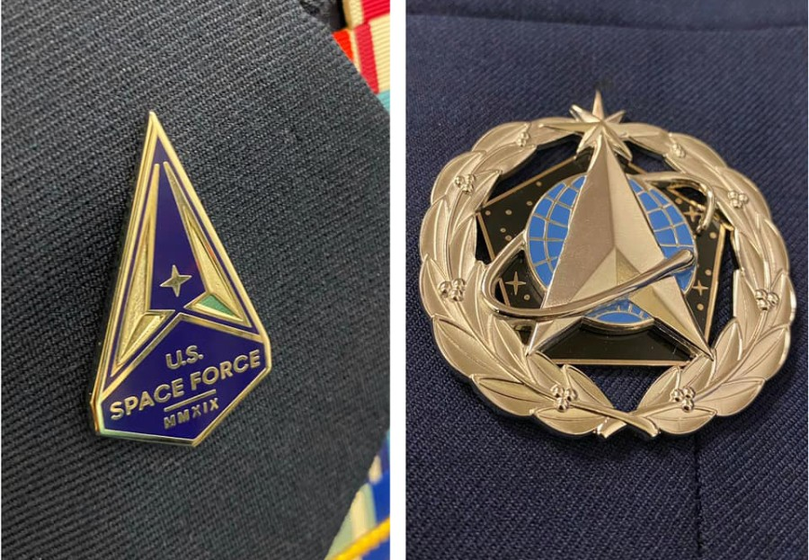 The Space Force lapel pin. left, and the service badge, right, will be how service members in the newest military branch distinguish themselves from airmen for now.  U.S. SPACE FORCE