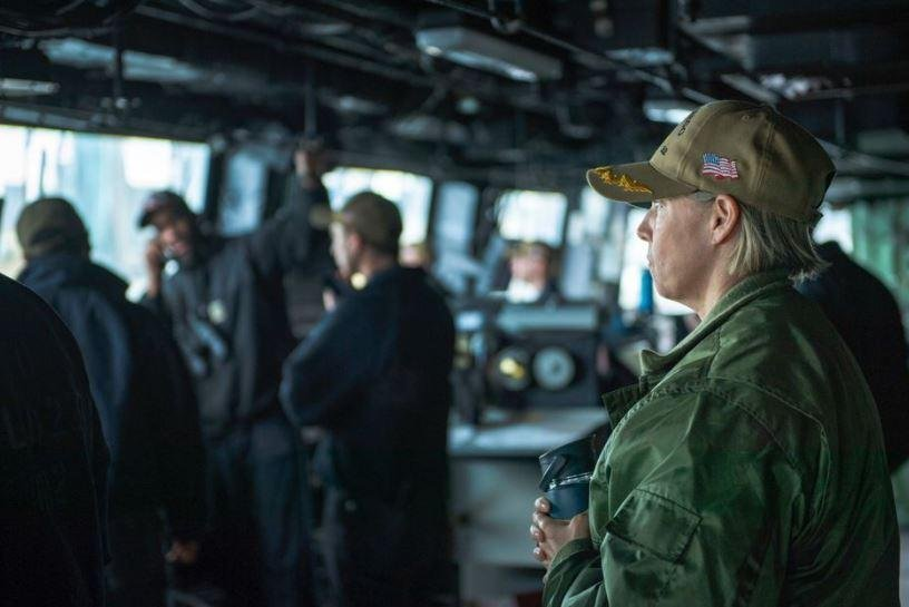 Capt. Amy Braunschmidt, R, will be the first woman in the U.S. Navy to command an aircraft carrier.