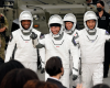 Astronauts, from left, Victor Glover, Michael Hopkins, Shannon Walker and Japan Aerospace Exploration Agency astronaut Soichi Noguchi.