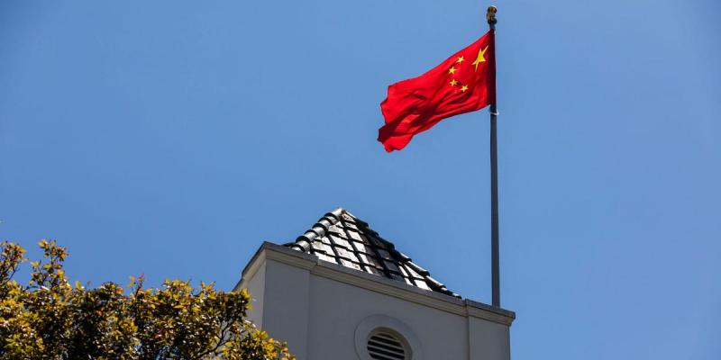 The Chinese flag above the Chinese Consulate in San Francisco. PHILIP PACHECO/AFP via Getty