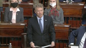 In this image from video, Sen. Rand Paul, R-Ky., makes a motion that the impeachment trial against former President Donald Trump is unconstitutional in the Senate at the U.S. Capitol in Washington, Tuesday, Jan. 26, 2021.