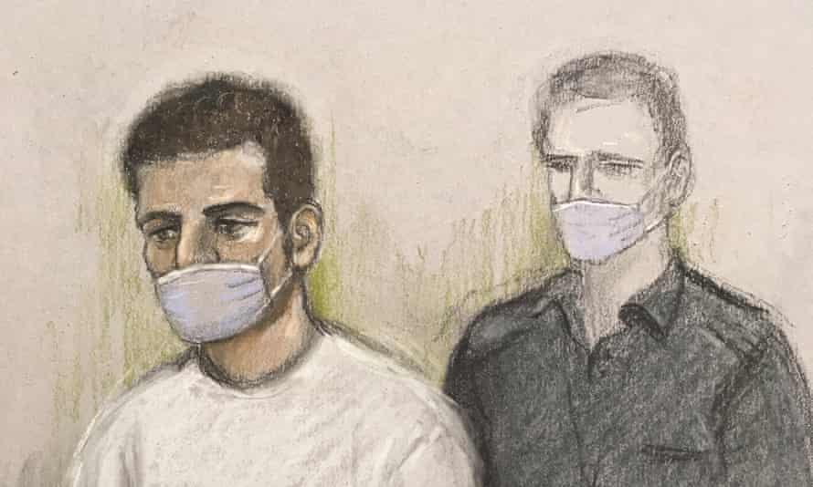 A court artist sketch of Khairi Saadallah in November 2020. Photograph: Elizabeth Cook/PA