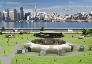A concept illustration of Hyundai's urban air mobility hub vision. Courtesy Hyundai/via REUTERS