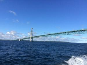 The Mackinac Bridge from the Straits of Mackinac / Wikimedia Commons