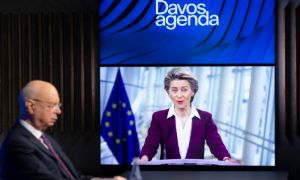 German Klaus Schwab, left, Founder and Executive Chairman of the World Economic Forum, WEF, listens to European Commission President Ursula von der Leyen,