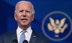 President-elect Joe Biden delivers remarks at The Queen theater in Wilmington, Delaware, on Jan. 6, 2021.