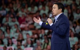 Andrew Yang speaks during the McIntyre-Shaheen 100 Club Dinner, Saturday, Feb. 8, 2020, in Manchester, N.H