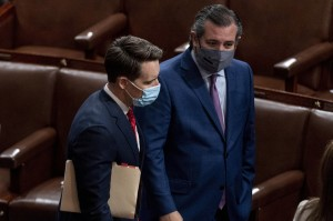 From left, Sens. Josh Hawley and Ted Cruz spearheaded objections to Pennsylvania's Electoral College votes even after a pro-Trump mob stormed the Capitol.
