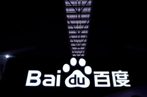 FILE PHOTO: A Baidu sign is seen at the World Internet Conference (WIC) in Wuzhen