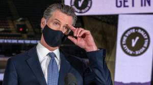 California Gov. Gavin Newsom speaks to reporters at Golden 1 Center in Sacramento, Calif. Gov. (Renée C. Byer/The Sacramento Bee via AP, Pool, File)