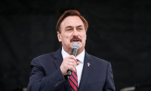 Mike Lindell, CEO of MyPillow, speaks at a National Prayer Rally on the National Mall in Washington on Dec. 12, 2020.