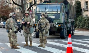 National Guard troops stand guard in Washington on Jan. 19, 2021.