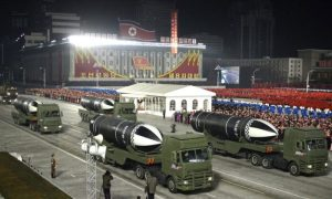 This photo provided by the North Korean government shows missiles during a military parade marking the ruling party congress, at Kim Il Sung Square in Pyongyang, North Korea Thursday, Jan. 14, 2021.