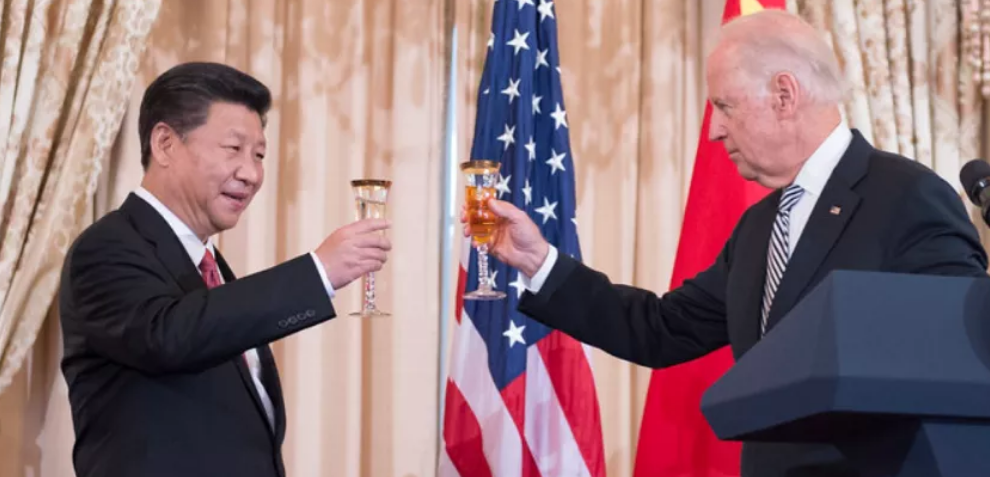 Then-Vice President Joe Biden honors Chinese President Xi Jinping at the U.S. Department of State in Washington, D.C., on Sept. 25, 2015.