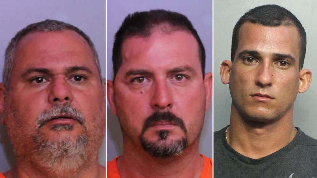 50 yo Lazaro Milian, 45 yo Michel Amalfi, and 27 yo Rodrigo La Rosa, are all in custody and charged with attempted murder of a law enforcement officer.