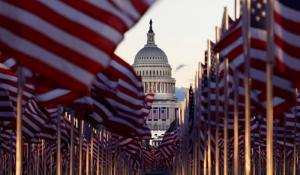 "The ""Field of flags"" on the National Mall in front of the Capitol building ahead of inauguration ceremonies in Washington, D.C., January 20, 2021."
