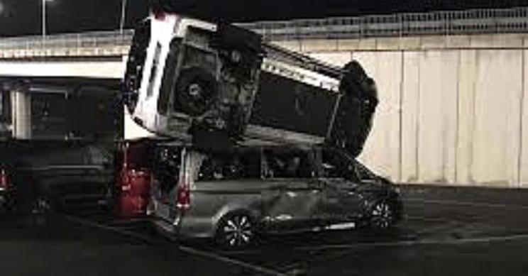 The rampaging man stacked vans with his hijacked bulldozer. Source: Irlandarra / Twitter