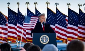 Then-President Donald Trump speaks to supporters at Joint Base Andrews before boarding Air Force One for his last time as President in Joint Base Andrews, Maryland on Jan. 20, 2021.