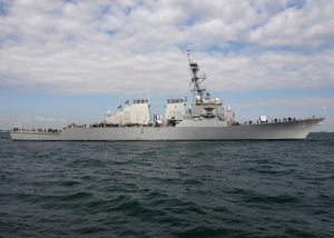 The Arleigh Burke class guided-missile destroyer USS John S. McCain (DDG 56).