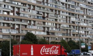 A truck transports bottles from the Coca-Cola company on the outskirts of Moscow on Aug. 6, 2014. (Reuters/Maxim Shemetov)