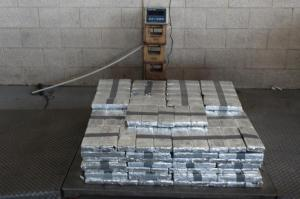Packages containing 575 pounds of  methamphetamine seized by CBP officers at  Pharr-Reynosa International Bridge.