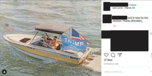 Capitol rioter Benjamin Torre seen boating with a large Trump flag. Courtesy of the Department of Justice