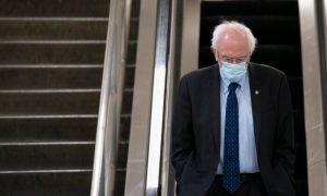 Sen. Bernie Sanders (I-Vt.) walks on Capitol Hill in Washington on Feb. 2, 2021.