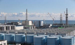 A general view of radiation contaminated water tanks and the damaged reactors at Fukushima Daiichi nuclear power plant In Okuma, Japan, on Feb. 25, 2016.