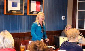 Republican Marjorie Taylor Greene speaks to a GOP women's group in Rome, Ga., on March 3, 2020.