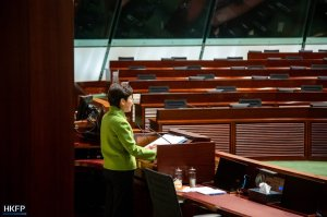 Chief Executive Carrie Lam attends a Q&A session at the Legislative Council on February 4, 2021.