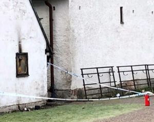 Swedish church that was firebombed by Muslims. Image from tweet.