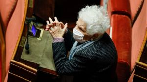 FILE - In this Jan. 19, 2021 file photo, 90-year-old Holocaust survivor Liliana Segre wears a face mask to curb the spread of COVD-19 as attends the debate at the Senate prior to a confidence vote, in Rome.