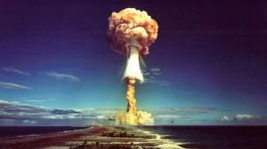 GETTY IMAGES image captionThis French nuclear test took place over Mururoa Atoll in 1971