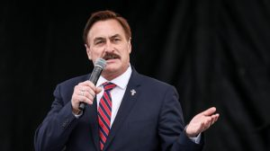 """Mike Lindell, CEO of MyPillow, speaks at the """"Let the Church ROAR"""" National Prayer Rally on the National Mall in Washington, on Dec. 12, 2020."""