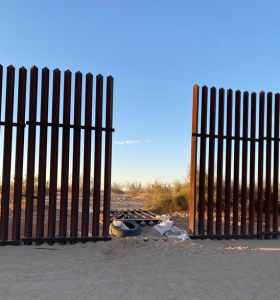 A 10-foot breach in the International Boundary Fence between Mexico and the United States near Interstate 8 in El Centro, Calif. on March 2,