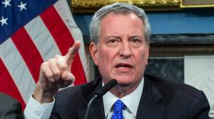 New York Mayor Bill de Blasio speaks to the media during a press conference at City Hall on Jan. 3, 2020, in New York City.
