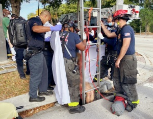 DBFR rescued a woman trapped in a storm drain Tuesday morning, removing a grate and using a ladder and harness to raise her to ground level before transporting her to a local hospital.