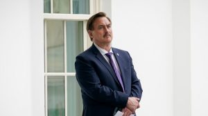 MyPillow CEO Mike Lindell waits outside the West Wing of the White House in Washington, on Jan. 15, 2021.