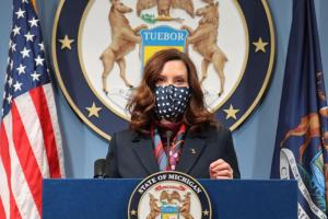 Gov. Gretchen Whitmer delivers remarks at her March 2, 2021, news conference.   Photo: Press@mich.gov