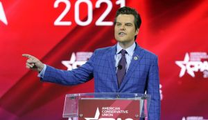 In this Feb. 26, 2021, file photo, Rep. Matt Gaetz, R-Fla., speaks at the Conservative Political Action Conference (CPAC) in Orlando, Fla. (AP Photo/John Raoux)