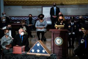 U.S. Speaker of the House Nancy Pelosi (D-CA) speaks during a congressional tribute to the late Capitol Police officer Brian Sicknick who lies in honor in the Rotunda of the U.S. Capitol on February 3, 2021 in Washington, DC.