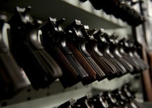Row of handguns. (US Coast Guard Academy/Released)
