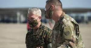 Marine Corps Gen. Frank McKenzie, commander U.S. Central Command, with U.S. Army Lt. Gen. Terry Ferrell, U.S. Army Central commanding general,