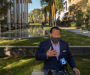 Che Ahn, Harvest Rock's senior pastor, says his congregation would defy the ban on singing at a news conference outside the Harvest Rock Church in Pasadena, Calif., Sunday, Feb. 7, 2021.