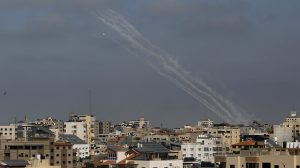 A rocket is launched from the Gaza Strip towards Israel, in Gaza City, Thursday, May 20, 2021. (AP Photo/Hatem Moussa)