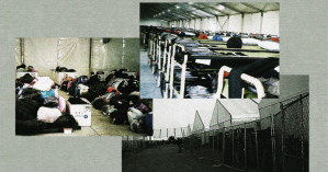 Collage of photos from inside Fort Bliss immigration facility (Source: Anonymous, Reason)