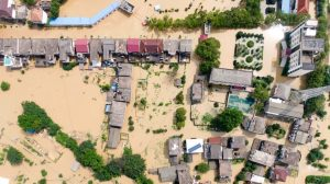 A village is flooded in Sanjiao Township of the Yongxiu County in eastern China's Jiangxi province, China, on July 13, 2020.