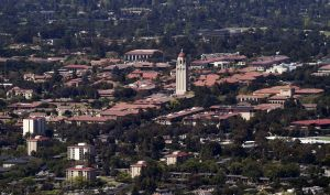 Stanford University's campus is seen in an aerial photo in Stanford,