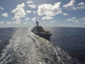 In this photo released Thursday, June 10, 2021, by the Iranian army, an Iranian warship moves in the Atlantic Ocean.
